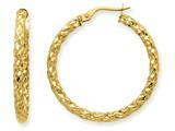 14k  3mm Textured Round Hoop Earrings style: PRE499