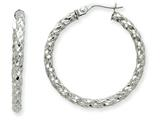 14k White Gold 2.5mm Textured Round Hoop Earrings style: PRE500
