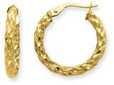 14k  3mm Textured Round Hoop Earrings style: PRE501
