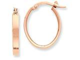 14k Plated Rose Rhodium Oval Hoop Earrings style: PRE562