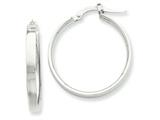 14k White Rhodium Hoop Earrings style: PRE571