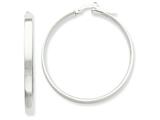 14k White Rhodium Hoop Earrings style: PRE573