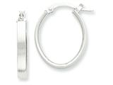 14k White Rhodium Oval Hoop Earrings style: PRE574
