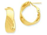 14k Twisted Oval Hoop Earrings style: PRE692