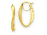 14k Twisted Oval Hoop Earrings style: PRE694