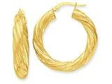 14k Satin and Polished Twisted Hoop Earrings style: PRE777