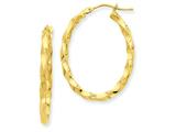 14ky Twisted Oval Hoop Earrings style: PRE783