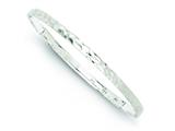 Sterling Silver 4mm Hammered Round Slip-on Bangle Bracelet style: QB560