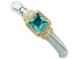 Sterling Silver and Gold-plated Blue Cubic Zirconia Hinged Cuff Bangle style: QB624