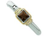 Sterling Silver and Gold-plated Smokey Brown Cubic Zirconia Hinged Cuff Bangle style: QB627