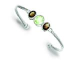 Sterling Silver Smokey Topaz And Green Cubic Zirconia Twisted Rope Bangle style: QB637