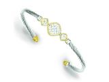 Sterling Silver Vermeil Cubic Zirconia Rope Design Bangle style: QB639