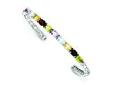 Sterling Silver Multi-colored Gemstone Cuff Bangle style: QB722