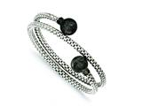 Sterling Silver Textured W/ Black Rhodium Plating Wrap Bangle style: QB726