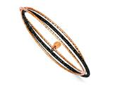 Sterling Silver Rhodium Plated Rose Plated Glitter Enamel Bangle Brace style: QB733