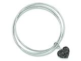 Sterling Silver Rhodium Plated Black Glitter Enamel Heart Bangle Bracelet style: QB735