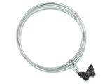 Sterling Silver Rhodium Plated Glitter Enamel Butterfly Bangle Bracelet style: QB736