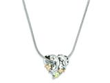 Sterling Silver Double Dolphin Slide Necklace style: QBH165