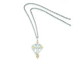 Sterling Silver Leaves Heart And Cross Necklace style: QBH179