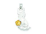 Sterling Silver Cat W/ Vermeil Flower Charm style: QC1319