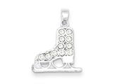Sterling Silver Cubic Zirconia Ice Skate Charm style: QC1375