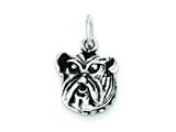 Sterling Silver Antiqued Bulldog Face Charm style: QC1459