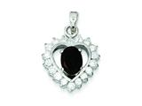Sterling Silver Garnet and Cubic Zirconia Pendant - Chain Included style: QC2165