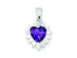 Sterling Silver Amethyst and Cubic Zirconia Pendant - Chain Included style: QC2177