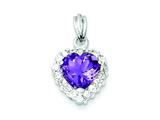 Sterling Silver Amethyst and Cubic Zirconia Pendant - Chain Included style: QC2178