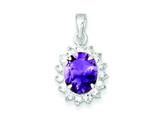 Sterling Silver Amethyst and Cubic Zirconia Pendant - Chain Included style: QC2184
