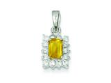 Sterling Silver Citrine and Cubic Zirconia Pendant - Chain Included style: QC2214