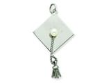 Sterling Silver Graduation Cap With Cultured Pearl Charm style: QC2450