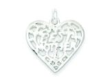 Sterling Silver Best Mother Heart Charm style: QC2630