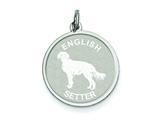Sterling Silver English Setter Disc Charm style: QC2684