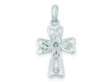 Sterling Silver Nugget Cross Pendant - Chain Included style: QC2896