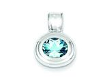 Sterling Silver Blue Topaz Pendant - Chain Included style: QC2930