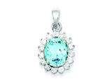 Sterling Silver Blue Topaz and Cubic Zirconia Pendant - Chain Included style: QC2935