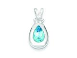 Sterling Silver Blue Topaz Pendant - Chain Included style: QC2938