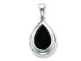 Sterling Silver Onyx Pendant Necklace - Chain Included style: QC2951