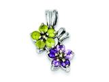 Sterling Silver Amethyst and Peridot Floral Pendant - Chain Included style: QC3042