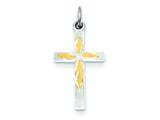 Sterling Silver and Vermeil Cross Charm style: QC3215