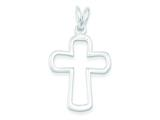 Sterling Silver Outlined Cross Pendant - Chain Included style: QC3247