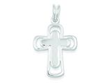 Sterling Silver Polished Cross Pendant - Chain Included style: QC3248