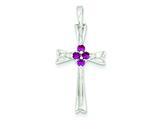 Sterling Silver Red Cubic Zirconia Cross Pendant - Chain Included style: QC3260