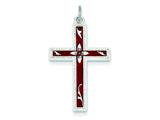 Sterling Silver Red Enameled Cross Pendant - Chain Included style: QC3263