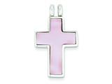 Sterling Silver Pink Shell Cross Pendant - Chain Included style: QC3295