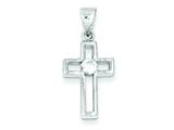 Sterling Silver Cubic Zirconia Cross Pendant - Chain Included style: QC3300