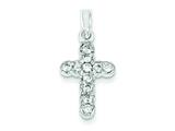 Sterling Silver Cubic Zirconia Cross Pendant - Chain Included style: QC3302
