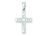 Sterling Silver Cubic Zirconia Latin Cross Charm style: QC3307