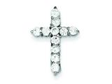Sterling Silver Cubic Zirconia Cross Pendant - Chain Included style: QC3310